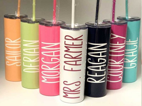 Personalized Skinny 20oz Insulated Stainless Steel Tumbler