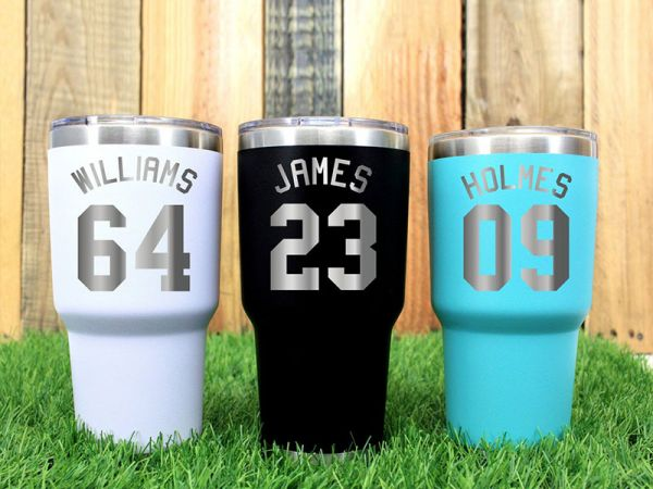 Fathers Gift, Jersey Number, Personalized Engraved 30 OZ Tumbler