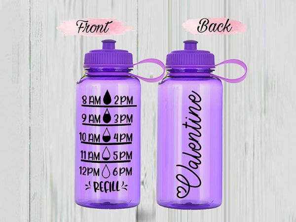 Personalized PVC 34 oz Water Bottle Tracker