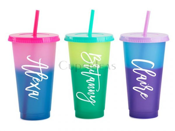 Personalized New-(5pc/box) Reusable 24oz Color Changing  Cold Cup WITH Decal