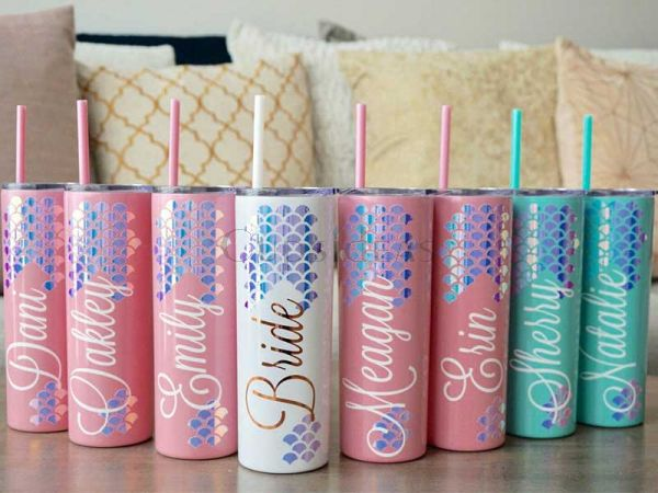 Personalized Mermaid Skinny Steel Tumbler