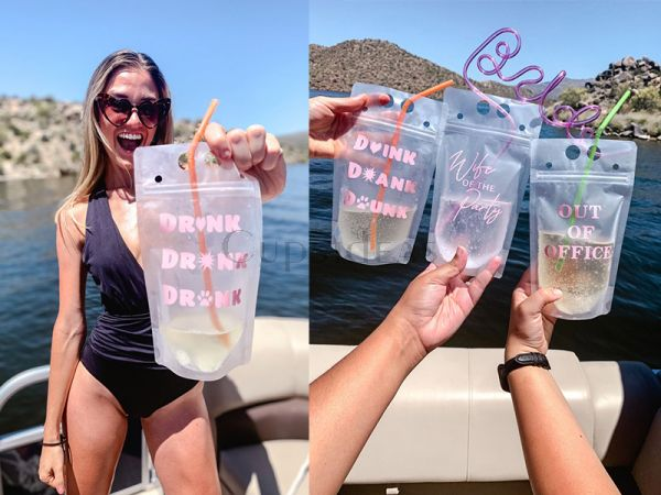 Custom Reusable Party Pouch | Drink Pouches Girls Trip Girls Weekend