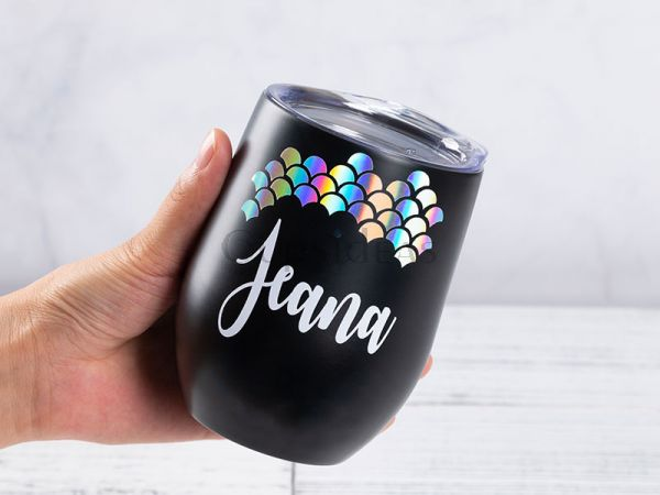 Persoanlized 12oz Tumbler with A Mermaid Style Decal