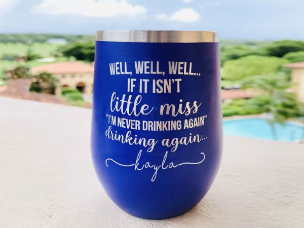 Little Miss Never Drinking Again 12oz Stemless Tumbler